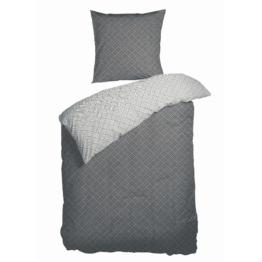 Satin-Wendebettwäsche Weave (135x200, anthrazit-weiß)
