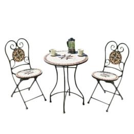 Balkonmöbelset Amarillo (3-teilig) - Stahl / Mosaik - Schwarz / Rot - Schwarz / Beige, Garden Pleasure