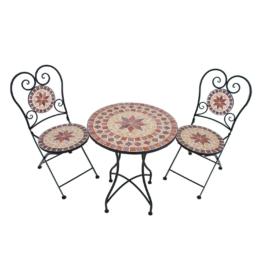 Balkonmöbelset Amarillo (3-teilig) - Stahl / Mosaik - Schwarz / Rot - Schwarz / Rot, Garden Pleasure