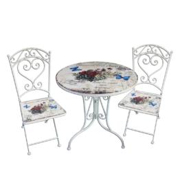 Balkonmöbelset Floral (3-teilig) - Aluminium - Weiß / Rot, Garden Pleasure