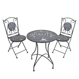 Balkonmöbelset Royal (3-teilig) - Stahl - Grau, Garden Pleasure