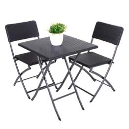 Balkonmöbelset Ventana (3-teilig) - Stahl / Kunststoff - Schwarz, Garden Pleasure