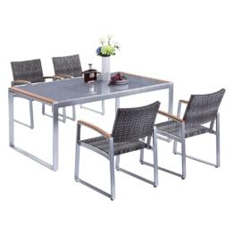 Essgruppe Ava (5-teilig) - Polyrattan / Aluminium - Grau, Garden Pleasure
