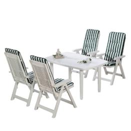 Essgruppe Santiago (9-teilig) - Kunststoff / Textil - Weiß / Grün, Best Freizeitmöbel