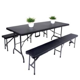 Essgruppe Ventana (3-teilig) - Stahl / Kunststoff - Schwarz, Garden Pleasure