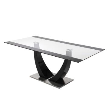 Esstisch Aleksa - Glas/Hochglanz Schwarz, loftscape