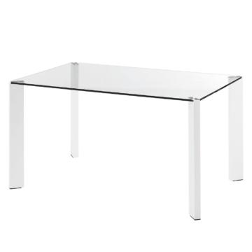 Esstisch Gavoi - Glas / Stahl - Weiß - 140 x 90 cm, Fredriks