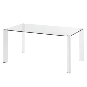 Esstisch Gavoi - Glas / Stahl - Weiß - 160 x 90 cm, Fredriks