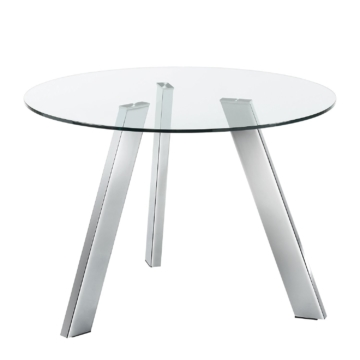 Esstisch Lolove - Glas / Stahl - Chrom - Ø 110 cm, Fredriks