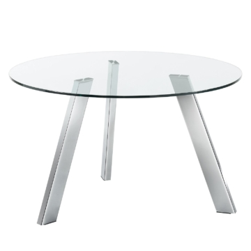 Esstisch Lolove - Glas / Stahl - Chrom - Ø 130 cm, Fredriks