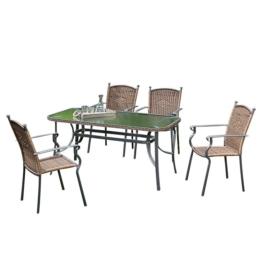 Gartenessgruppe Roma I (5-teilig) - Aluminium / Polyrattan, Merxx