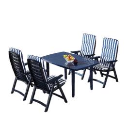 Gartenessgruppe Santiago (5-teilig) - Kunststoff - Blau, Best Freizeitmöbel