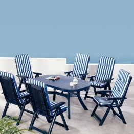 Gartenessgruppe Santiago (7-teilig) - Kunststoff - Blau, Best Freizeitmöbel