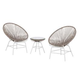 Sitzgruppe Copacabana II (3-teilig) - Kunststoff - Khaki / Weiß, Fredriks