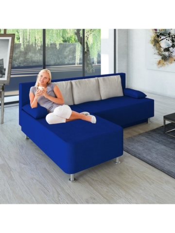 Ecksofa Bettsofa Schlafsofa Couch mit Schlaffunktion ´Magota Blau´ 81 x 203 x 78 cm VCM Blau