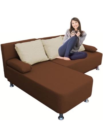 Ecksofa Bettsofa Schlafsofa Couch mit Schlaffunktion ´Magota Braun´ 81 x 203 x 78 cm VCM Braun