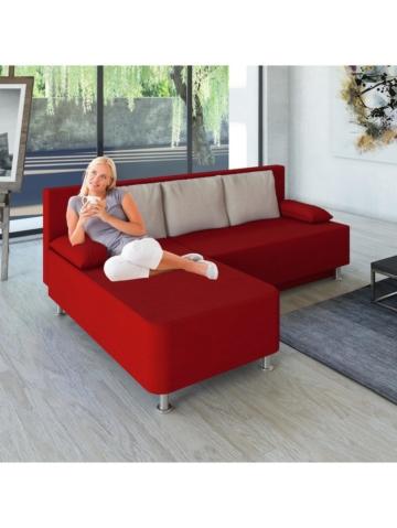 Ecksofa Bettsofa Schlafsofa Couch mit Schlaffunktion ´Magota Rot´ 81 x 203 x 78 cm VCM Rot