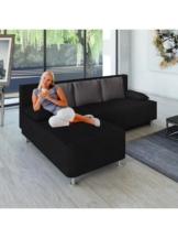 Ecksofa Bettsofa Schlafsofa Couch mit Schlaffunktion ´Magota Schwarz´ 81 x 203 x 78 cm VCM Schwarz