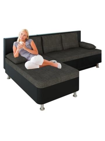 Ecksofa Bettsofa Schlafsofa Couch mit Schlaffunktion ´Stylosa Schwarz´ 196 x 70 x 150 cm VCM Schwarz, Grau