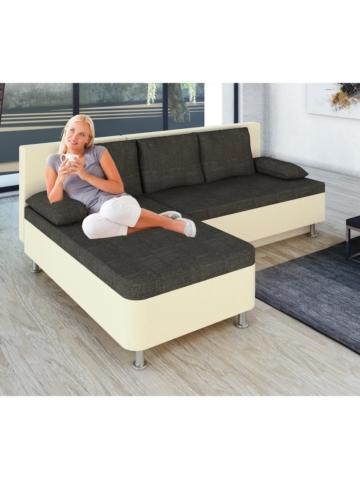 Ecksofa Bettsofa Schlafsofa Sofa Couch mit Schlaffunktion 196 x 70 x 150 cm ´Stylosa Weiß´ VCM Weiss, Grau