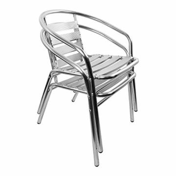 2 Stück Mojawo® Stapelstuhl Campingstuhl Gartenstuhl stabile Aluminium Silber Bistrostühle stapelbar Alustuhl Balkonmöbel Gartensitzmöbel Küchenstuhl - 3