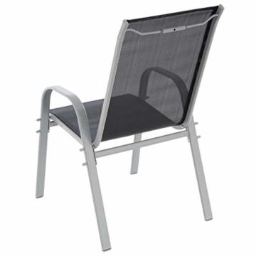 6er Set Gartenstuhl Camping Stapelstuhl Hochlehner Terrassenstuhl – Textilene Stahl stapelbar – Farbe: Rahmen hellgrau/Bespannung schwarz - 3