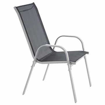 6er Set Gartenstuhl Camping Stapelstuhl Hochlehner Terrassenstuhl – Textilene Stahl stapelbar – Farbe: Rahmen hellgrau/Bespannung schwarz - 4