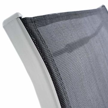 6er Set Gartenstuhl Camping Stapelstuhl Hochlehner Terrassenstuhl – Textilene Stahl stapelbar – Farbe: Rahmen hellgrau/Bespannung schwarz - 5