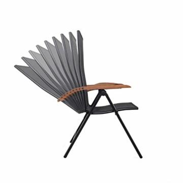 Ambientehome Aluminium Luxus Klappstuhl 2er Set Hochlehner Gartensessel Aluminiumsessel 4x4 Textilen Armlehnen aus Akazie schwarz - 3