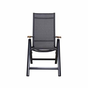 Ambientehome Aluminium Luxus Klappstuhl Hochlehner Gartensessel Aluminiumsessel 4x4 Textilen Armlehnen aus Akazie schwarz - 2