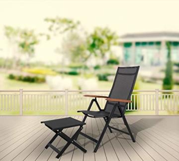 Ambientehome Aluminium Luxus Klappstuhl Hochlehner Gartensessel Aluminiumsessel 4x4 Textilen Armlehnen aus Akazie schwarz - 6