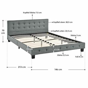 ArtLife Polsterbett Manresa 140 x 200 cm - Bett mit Lattenrost und Kopfteil - Zeitloses modernes Design, Grau - 2