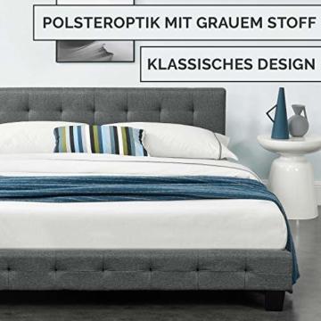 ArtLife Polsterbett Manresa 140 x 200 cm - Bett mit Lattenrost und Kopfteil - Zeitloses modernes Design, Grau - 3