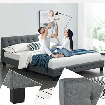 ArtLife Polsterbett Manresa 140 x 200 cm - Bett mit Lattenrost und Kopfteil - Zeitloses modernes Design, Grau - 1