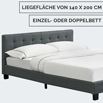 ArtLife Polsterbett Manresa 140 x 200 cm - Bett mit Lattenrost und Kopfteil - Zeitloses modernes Design, Grau - 5
