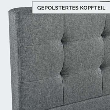 ArtLife Polsterbett Manresa 140 x 200 cm - Bett mit Lattenrost und Kopfteil - Zeitloses modernes Design, Grau - 6
