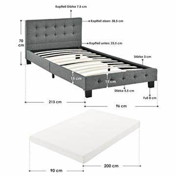 ArtLife Polsterbett Manresa 90 x 200 cm – Bett mit Lattenrost, Matratze und Kopfteil – Komplett-Set - Zeitloses modernes Design, Grau - 2