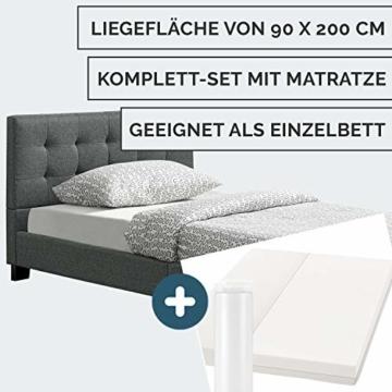 ArtLife Polsterbett Manresa 90 x 200 cm – Bett mit Lattenrost, Matratze und Kopfteil – Komplett-Set - Zeitloses modernes Design, Grau - 3