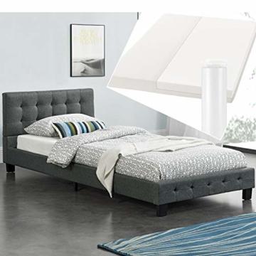 ArtLife Polsterbett Manresa 90 x 200 cm – Bett mit Lattenrost, Matratze und Kopfteil – Komplett-Set - Zeitloses modernes Design, Grau - 8