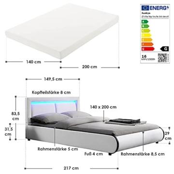ArtLife Polsterbett Murcia 140 x 200 cm Komplett-Set mit Matratze, Lattenrost, LED-Licht, Kopfteil - Kunstleder Bett - groß, massiv, modern & weiß - 2