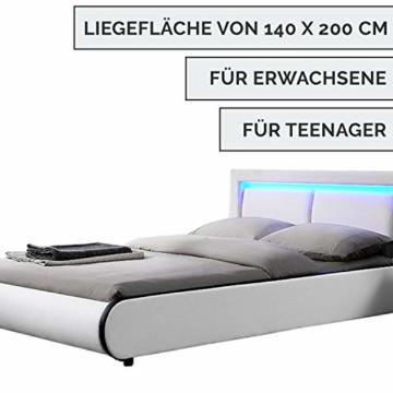 ArtLife Polsterbett Murcia 140 x 200 cm Komplett-Set mit Matratze, Lattenrost, LED-Licht, Kopfteil - Kunstleder Bett - groß, massiv, modern & weiß - 3