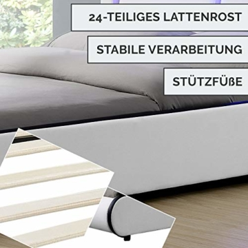 ArtLife Polsterbett Murcia 140 x 200 cm Komplett-Set mit Matratze, Lattenrost, LED-Licht, Kopfteil - Kunstleder Bett - groß, massiv, modern & weiß - 4