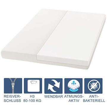 ArtLife Polsterbett Murcia 140 x 200 cm Komplett-Set mit Matratze, Lattenrost, LED-Licht, Kopfteil - Kunstleder Bett - groß, massiv, modern & weiß - 5