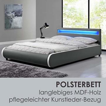 ArtLife Polsterbett Sevilla 140 x 200 cm - Bett mit Matratze, Lattenrost & LED – Holz & Kunstleder - grau – Jugendbett Gästebett Einzelbett - 3