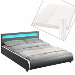 ArtLife Polsterbett Sevilla 140 x 200 cm - Bett mit Matratze, Lattenrost & LED – Holz & Kunstleder - grau – Jugendbett Gästebett Einzelbett - 1