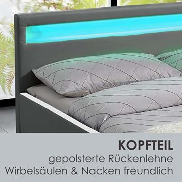 ArtLife Polsterbett Sevilla 140 x 200 cm - Bett mit Matratze, Lattenrost & LED – Holz & Kunstleder - grau – Jugendbett Gästebett Einzelbett - 4