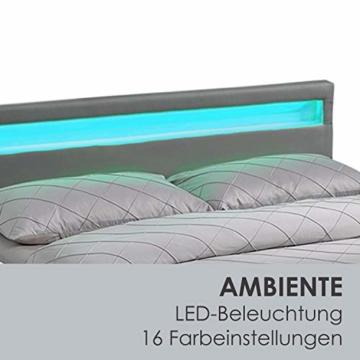 ArtLife Polsterbett Sevilla 140 x 200 cm - Bett mit Matratze, Lattenrost & LED – Holz & Kunstleder - grau – Jugendbett Gästebett Einzelbett - 5