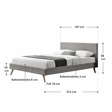 ArtLife Polsterbett Toledo 140x200 cm mit Lattenrost, Kopfteil weich gepolstert, Stoff Bezug, Bett skandinavisch, Bettgestell aus Holz, hellgrau - 2