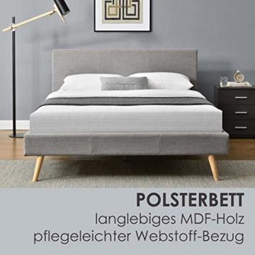 ArtLife Polsterbett Toledo 140x200 cm mit Lattenrost, Kopfteil weich gepolstert, Stoff Bezug, Bett skandinavisch, Bettgestell aus Holz, hellgrau - 4