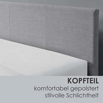 ArtLife Polsterbett Toledo 140x200 cm mit Lattenrost, Kopfteil weich gepolstert, Stoff Bezug, Bett skandinavisch, Bettgestell aus Holz, hellgrau - 7